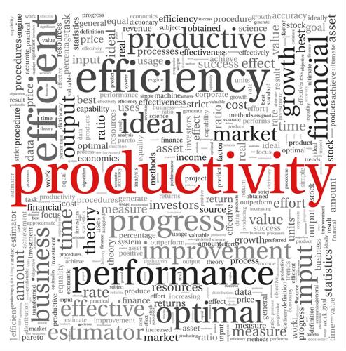 "A word cloud organized around ""productivity."""